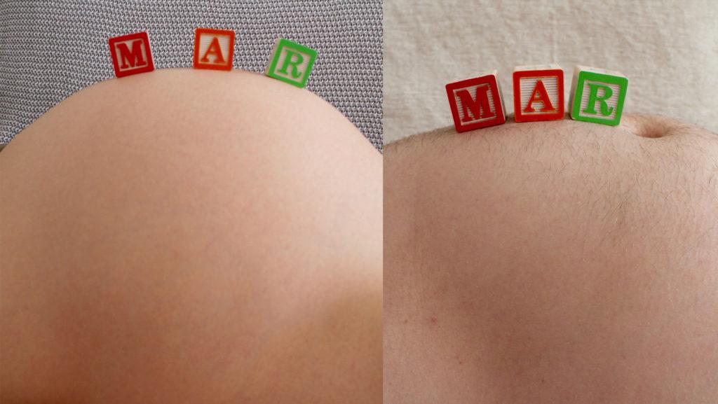Foto divertida embarazo barrigas, para esperar con paciencia el parto.