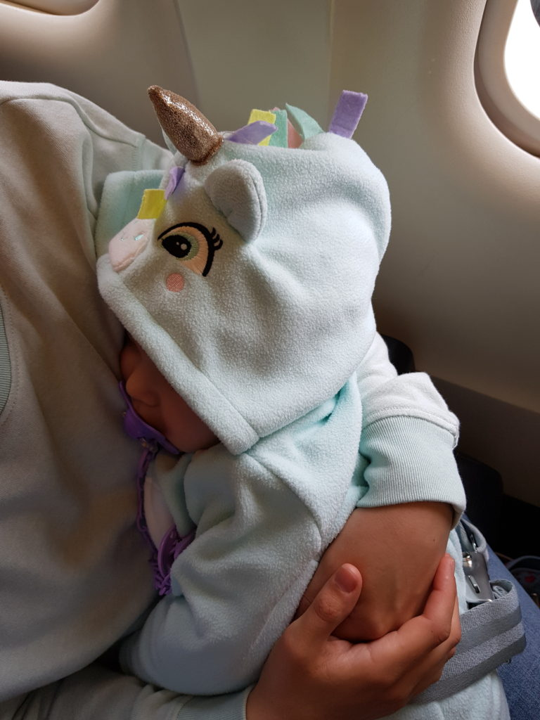 Bebé unicornio viajando calentito